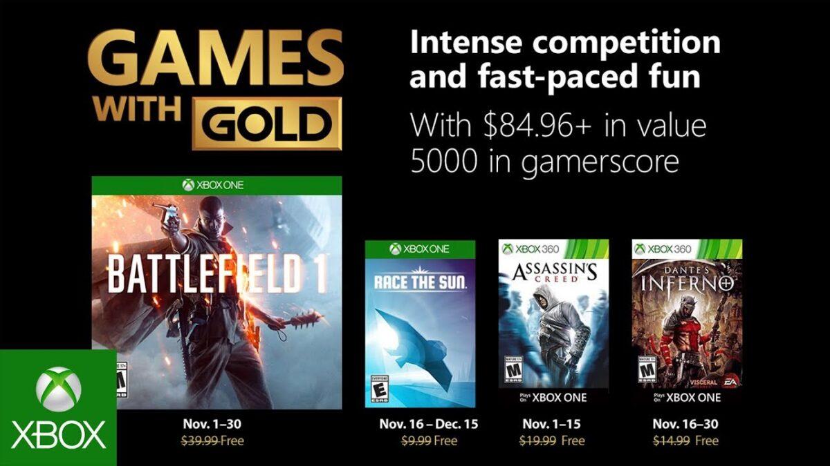 Microsoft anuncia los juegos gratuitos de Games with Gold de Noviembre 2018
