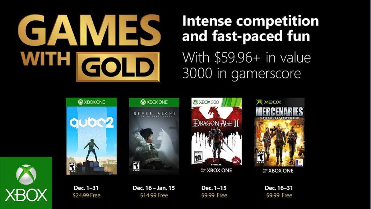 Microsoft anuncia los juegos gratuitos de Games with Gold de diciembre 2018